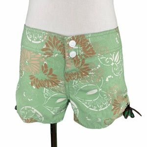 Ripcurl Green Floral Side Cinched Board Shorts